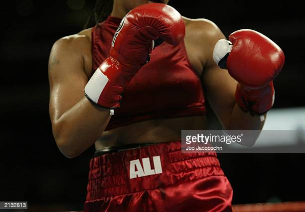 Laila Ali stands ready against Valerie Mahfood during their women's super middleweight bout at the Staples Center on June 21 2003 in Los Angeles...