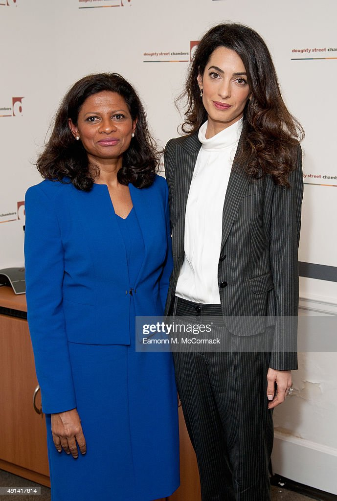 Laila Ali, Wife of Former Maldivian President Mohamed Nasheed and Amal Clooney attend a press conference regarding the detention of Mohamed Nasheed, President of the Maldives at Doughty Street Chambers on October 5, 2015 in London, England. Clooney is part of an international legal team seeking to release Maldivian President Mohamed Nasheed after he was was jailed for 13 years. The UN have found Nasheed's detention in violation of international Law.
