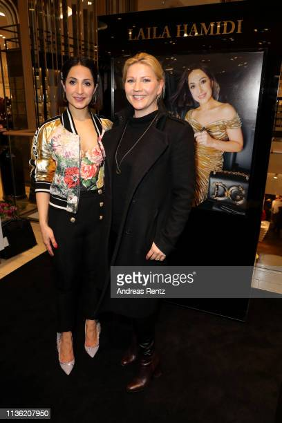 Laila Hamidi and Aleksandra Bechtel attend the 'Easy to pack brushes' launch by Laila Hamidi at Breuninger on March 16 2019 in Duesseldorf Germany