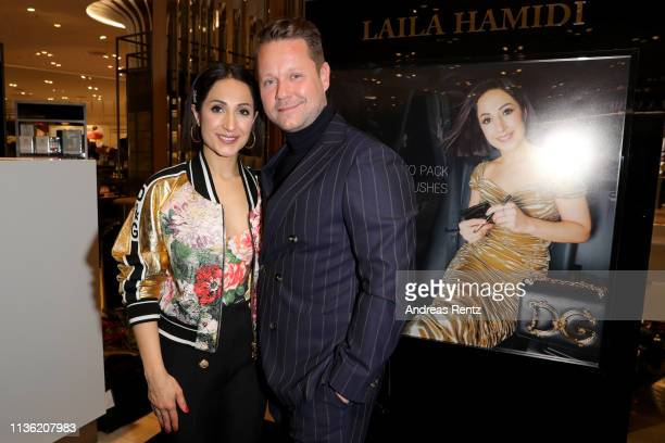 Laila Hamidi and Bastian Ammelounx attend the 'Easy to pack brushes' launch by Laila Hamidi at Breuninger on March 16 2019 in Duesseldorf Germany
