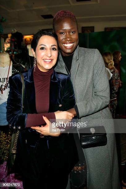 Laila Hamidi and model Aminata Sanogo attend the Thomas Sabo Press Cocktail during the MercedesBenz Fashion Week Berlin A/W 2018 at China Club on...