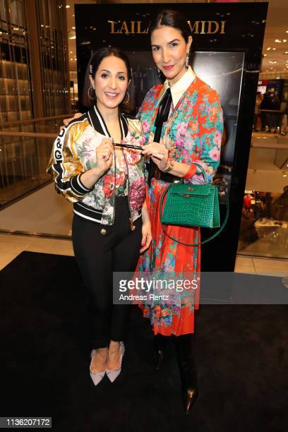 Laila Hamidi and Vanda Reppegather attend the 'Easy to pack brushes' launch by Laila Hamidi at Breuninger on March 16 2019 in Duesseldorf Germany