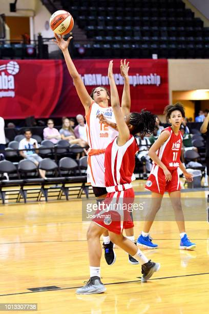 Laila McLeod of the South Girls shoots the ball against the MidAtlantic Girls during the Jr NBA World Championship on August 8 2018 at ESPN Wide...