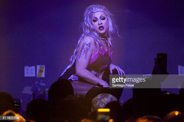 Laila McQueen performs onstage during Logo's RuPaul's Drag Race Season 8 Premiere at Stage 48 on February 22 2016 in New York City
