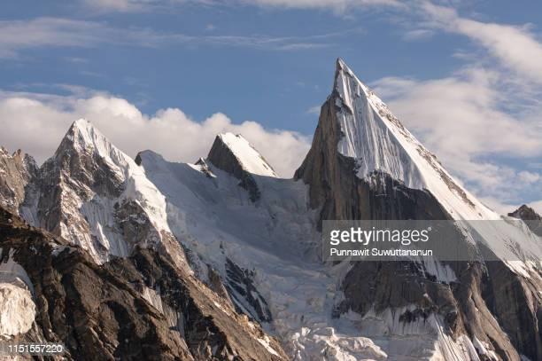 laila peak, beautiful peak in karakoram mountain range, khuspang camp, k2 trek, pakistan - mountain range ストックフォトと画像