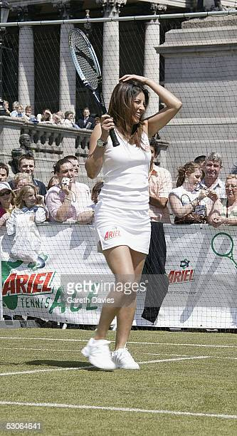 Laila Rouass attends the Ariel Tennis Ace which aimed to find Britain's next young tennis star in Trafalgar Square on June 13 2005 in London It...