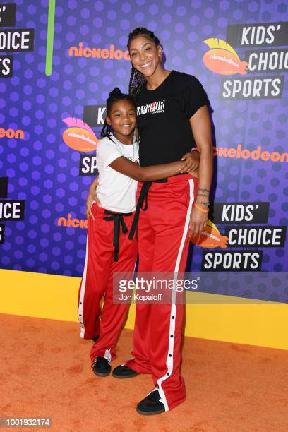 Lailaa Nicole Williams and WBNA player Candace Parker attend the Nickelodeon Kids' Choice Sports 2018 at Barker Hangar on July 19 2018 in Santa...