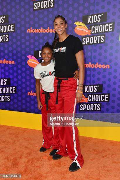 Lailaa Nicole Williams and WNBA player Candace Parker attend the Nickelodeon Kids' Choice Sports 2018 at Barker Hangar on July 19 2018 in Santa...