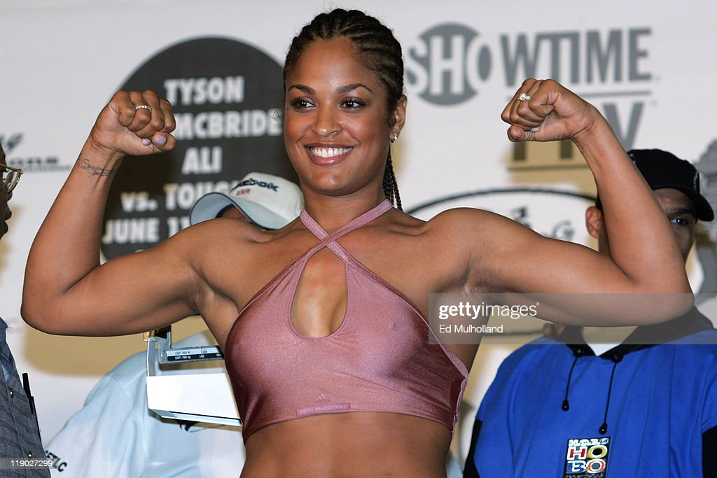 WBC, WIBA Super Middleweight Championship Weigh-In - Laila Ali vs Erin Toughill - June 10, 2005 : News Photo