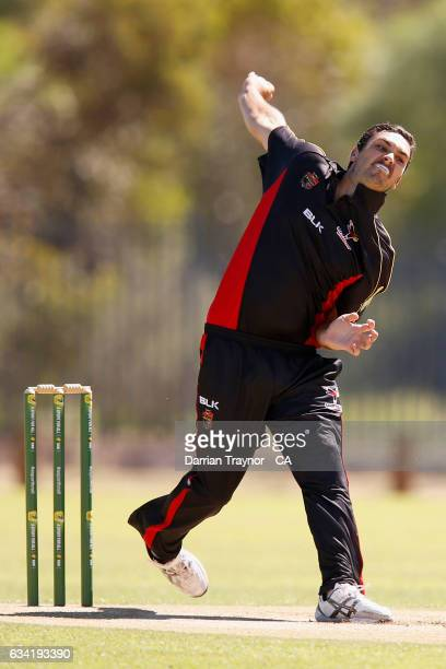 Lain Beckett of South Australia bowls during the National Indigenous Cricket Championships match between South Australia and Tasmania on February 8...