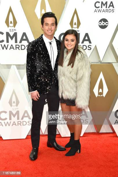 Laine Hardy and Sydney Becnel attend the 53rd annual CMA Awards at the Music City Center on November 13 2019 in Nashville Tennessee