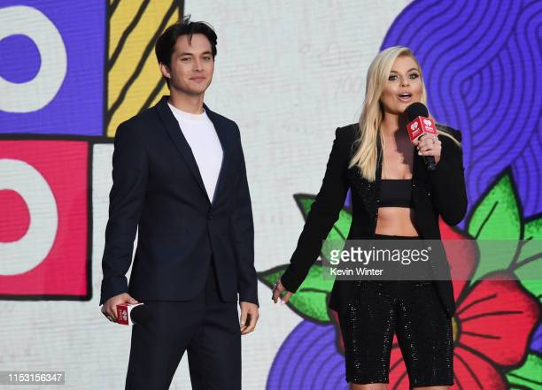 Laine Hardy and Tanya Rad speak onstage at 2019 iHeartRadio Wango Tango presented by The JUVÉDERM® Collection of Dermal Fillers at Dignity Health...