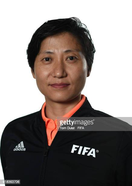 Laing Qin of China poses for photographs during the FIFA Women's Referee Seminar on February 14 2018 in Doha Qatar
