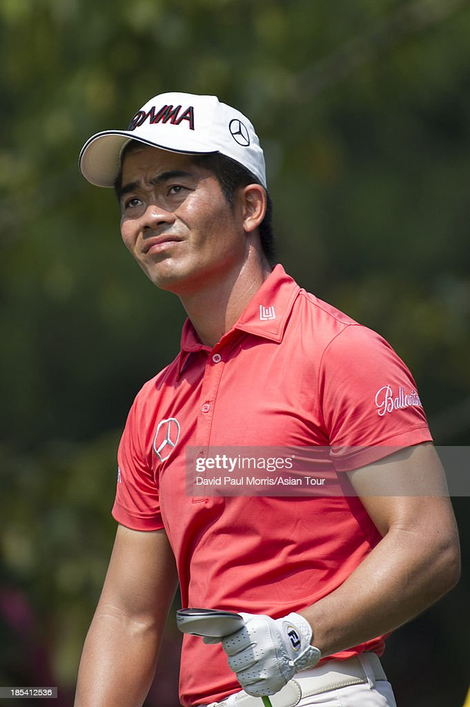 Laing Wen-chong of China watches his drive on the 9th hole during round four of the Venetian Macau Open on October 20, 2013 at the Macau Golf & Country Club in Macau. The Asian Tour tournament offers a record US$ 800,000 prize money which goes through October 20.