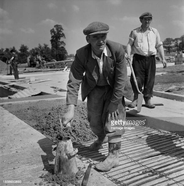 Laing worker P. Doyle engaged in concreting work during the construction of the Rover factory in Solihull. A cropped version of this image was...