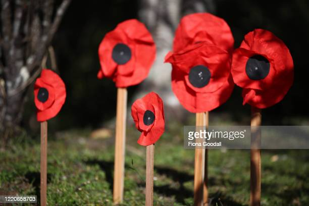 Laingholm family uses what is available at home during lockdown making poppies out of reusable supermarket bags to commemorate Anzac Day on April 24...