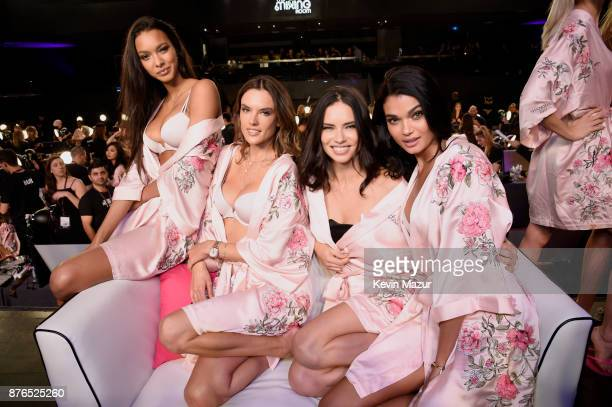Lais Ribeiro Alessandra Ambrosio Adriana Lima and Gizele Oliveira pose in Hair Makeup during 2017 Victoria's Secret Fashion Show In Shanghai at...
