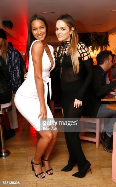 Lais Ribeiro and Maria Hatzistefanis pose for a photo together as Hatzistefanis and Brad Goreski host Rodial VIP Dinner on May 3 2017 in New York City