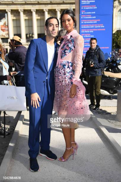 Lais Ribeiro and Mohammed Al Turki attend the ELie Saab show as part of the Paris Fashion Week Womenswear Spring/Summer 2019 on September 29, 2018 in...
