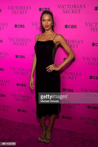 Lais Ribeiro attends the 2017 Victoria's Secret Fashion Show viewing party pink carpet at Spring Studios on November 28 2017 in New York City