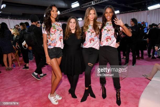 Lais Ribeiro Mary Katrantzou Josephine Skriver and Jasmine Tookes pose backstage during 2018 Victoria's Secret Fashion Show in New York at Pier 94 on...