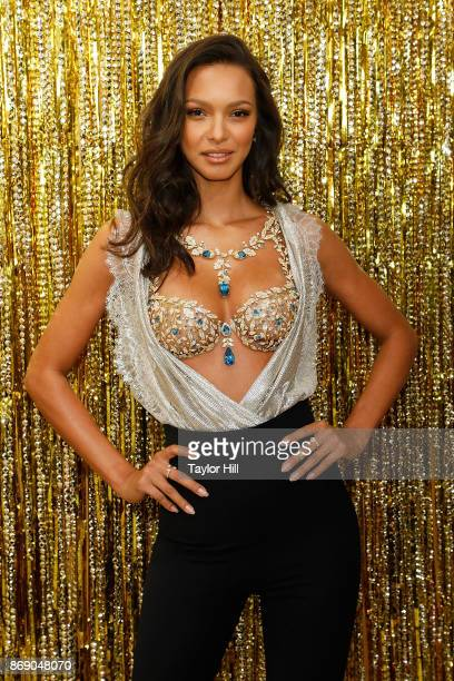 Lais Ribeiro models the 2017 Victoria's Secret Fantasy Braa at Victoria's Secret Fifth Ave on November 1 2017 in New York City