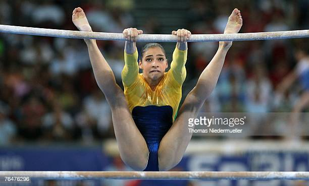 Lais Souza of Brazil performs on the uneven bars during the women's qualifications of the 40th World Artistic Gymnastics Championships on September...