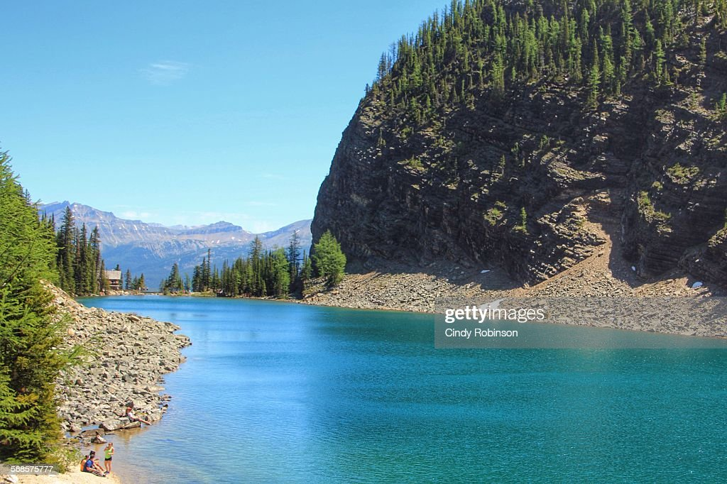 Lake Agnes amid the Canadian Rocky Mountains. : Stock Photo