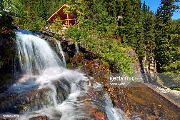 Lake Agnes tea house and waterfall, summer