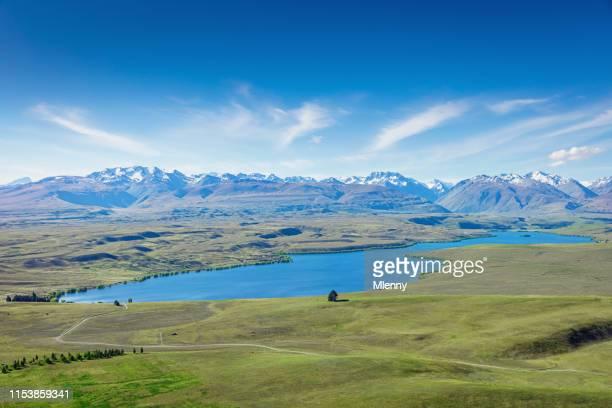 lake alexandrina aerial view mount john tekapo new zealand - christchurch new zealand stock pictures, royalty-free photos & images