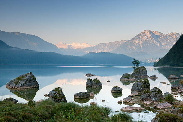 Lake Altaussee With Glacier Dachstein, Austrian Alps Nature Reserve Panorama Wall Art