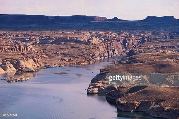 Lake Among Desert Landforms