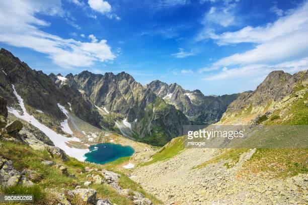 lake among mountain, mala wysoka, tatra, slovakia - slovakia stock pictures, royalty-free photos & images