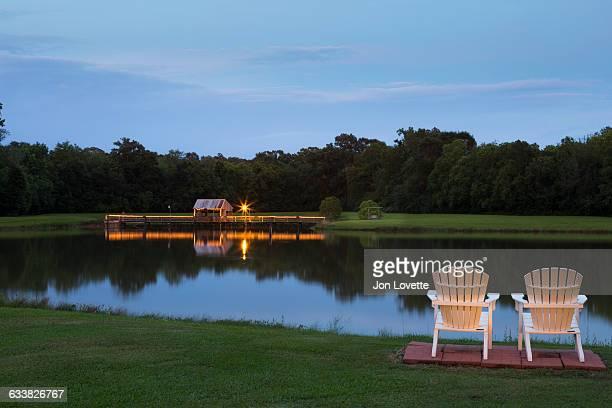 Lake and Adirondack chairs