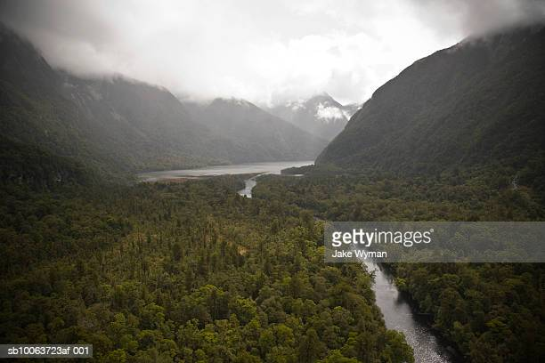 Lake and Fiordland National Park, aerial view