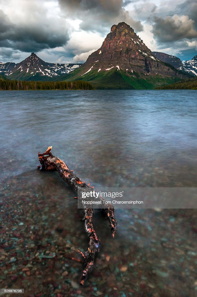 Lake and mountain in Glacier National Park : Stock Photo