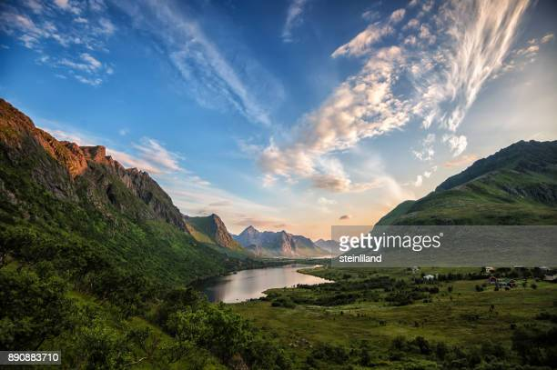lake and mountain landscape, vareidet, flakstad, lofoten, nordland, norway - dramatic landscape stock pictures, royalty-free photos & images