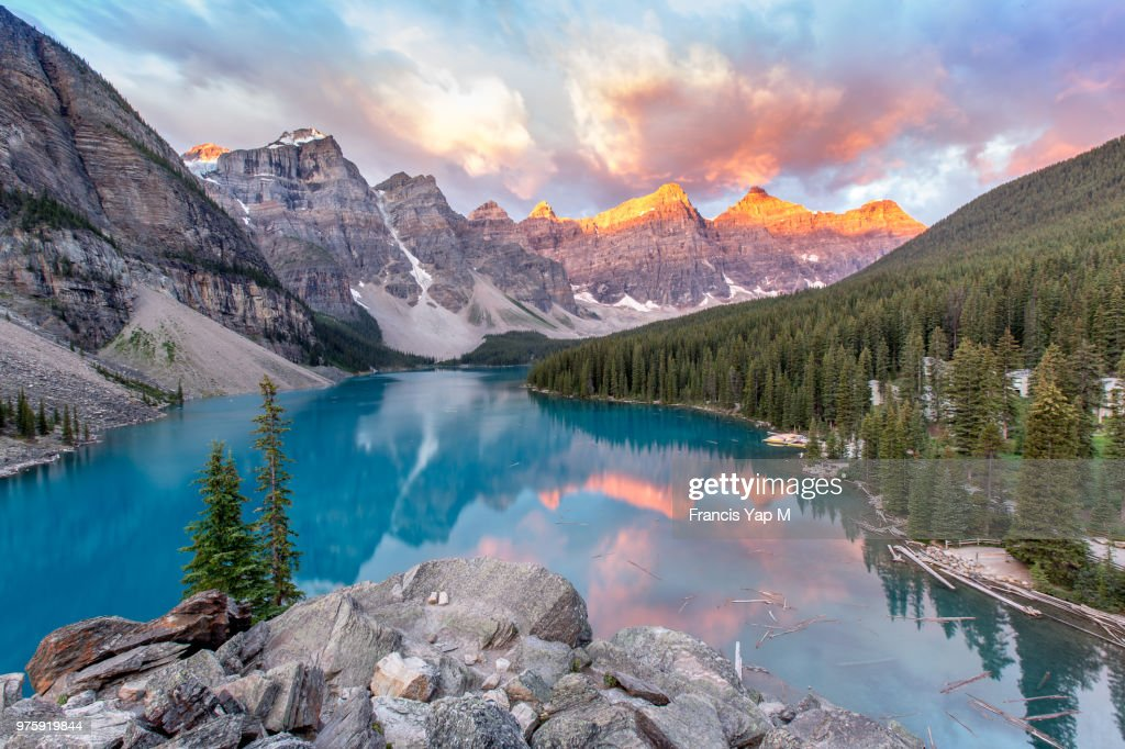 A lake and mountains at sunrise. : Stock Photo