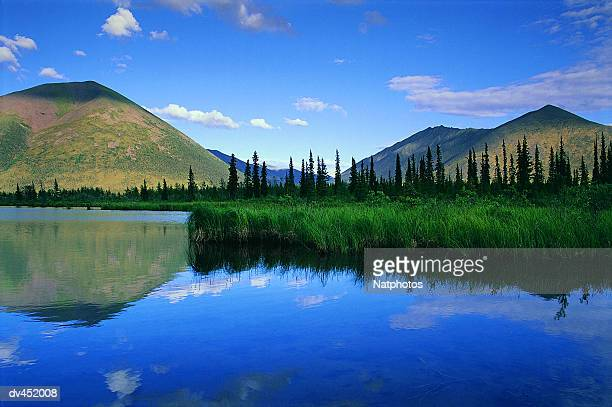 Lake and mountains, Dempster Highway, Yukon, Canada, North America