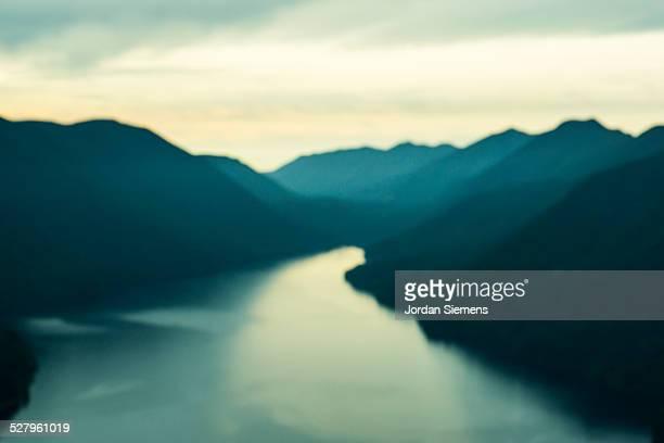 lake and mountains.
