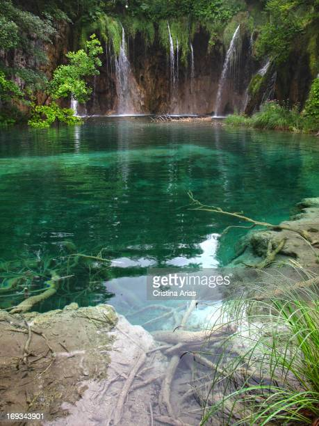 Lake and small waterfalls in the Plitvice Lakes National Park UNESCO World Heritage Site Croatia