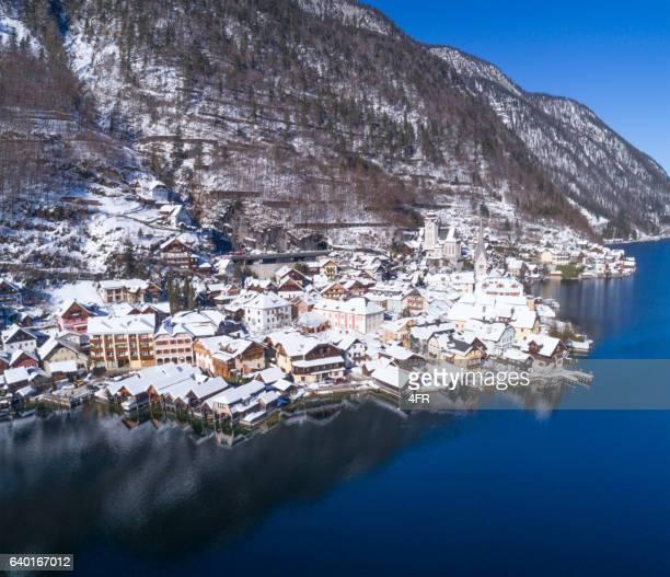 Lake and Village Hallstatt covered in Snow, Austria