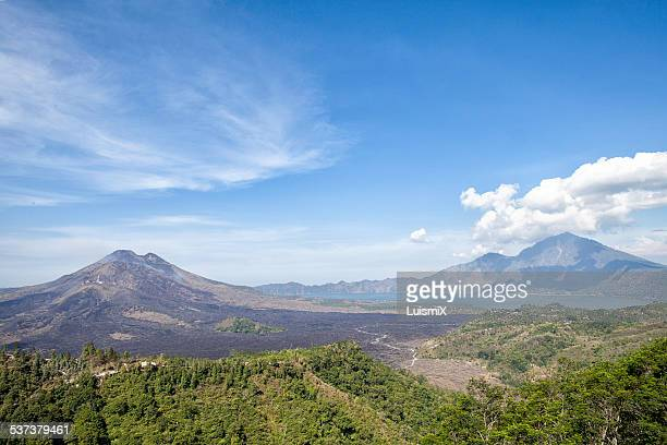 lake and volcano batur - kintamani district stock pictures, royalty-free photos & images