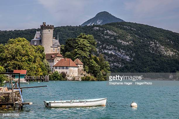 lake annecy and boat - lake annecy stock photos and pictures