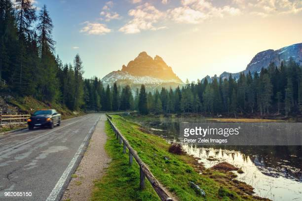 lake antorno in the dolomites, italy at sunrise - belluno stock pictures, royalty-free photos & images