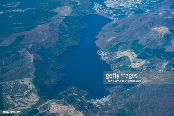 Lake Ashinoko in Hakone town in Kanagawa prefecture in Japan daytime aerial view from airplane