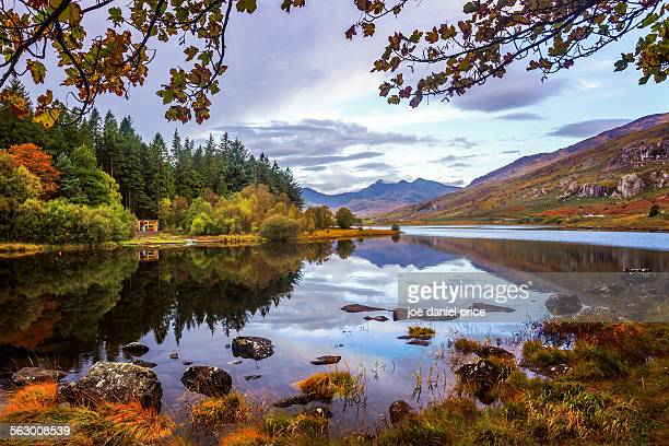 lake at capel curig, snowdonia, north wales - wales stock-fotos und bilder