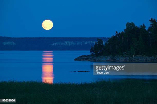 a lake at moonlight, sweden. - dalsland stock photos and pictures