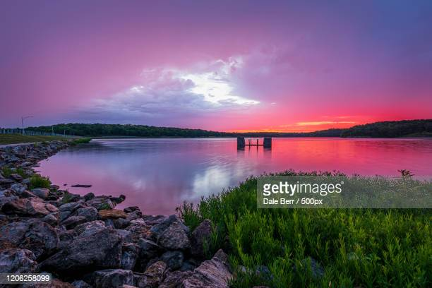 lake at sunset, lenexa, kansas, usa - nature stock pictures, royalty-free photos & images