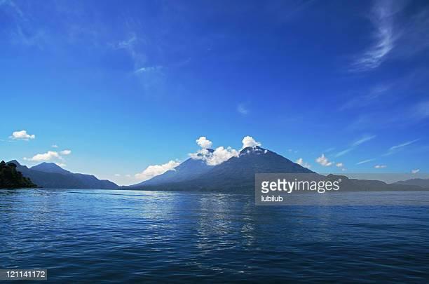 Lake Atitlan and volcano San Pedro in town Panajachel, Guatemala